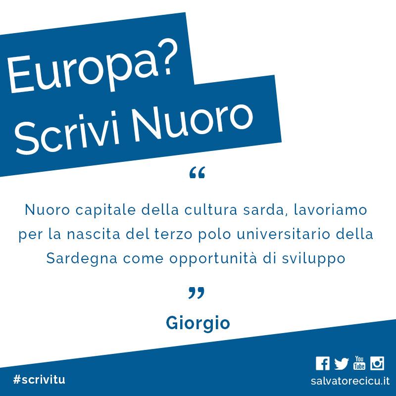Europa? Scrivi Nuoro